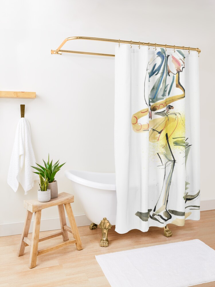 Alternate view of Saxophone Musician art Shower Curtain
