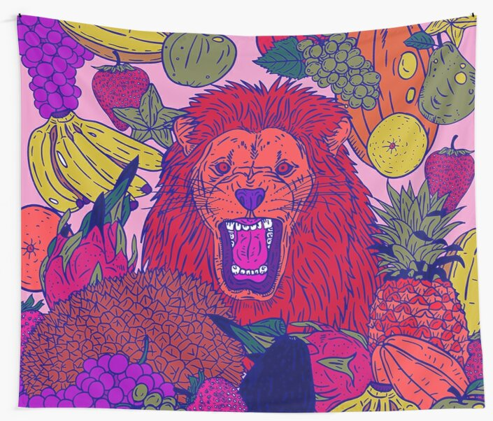 Fantasy Majestic Lion and Fruit Melody Wall Tapestry - Lion Wall Decor