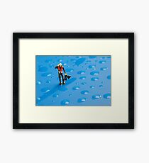 The Diver Among Water Drops Framed Print