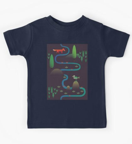 Landscape - Fox and Stream 2 (Pattern) Kids Clothes