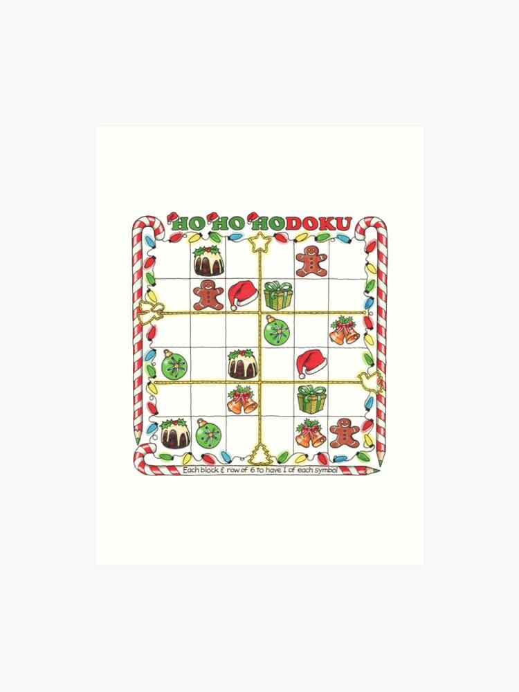 Christmas Sudoku.A Merry Christmas Sudoku Art Print