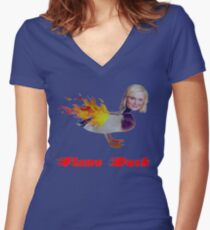 Parks and Recreation Flame Duck Women's Fitted V-Neck T-Shirt