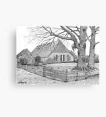Original Dutch Farmhouse in Drenthe Holland - Pen Drawing Canvas Print