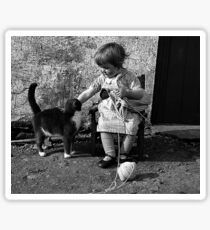 Little girl knitting Sticker