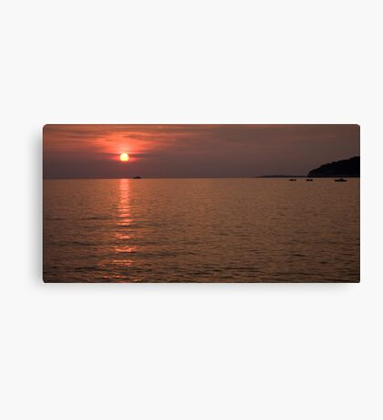 Red dusk over Pula Canvas Print
