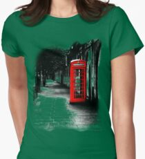 London Calling - Red British Telephone Box Womens Fitted T-Shirt