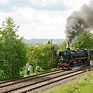Steam train climbing incline, Germany, 2010 by David A. L. Davies
