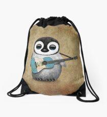 Baby Penguin Playing Guatemalan Flag Guitar Drawstring Bag