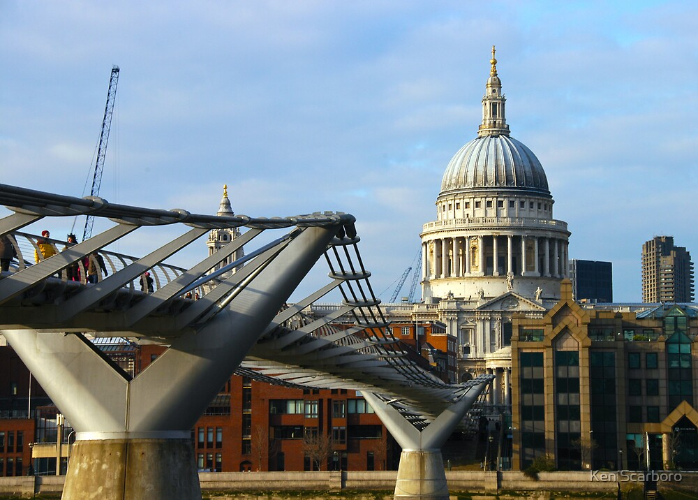 Millennium Bridge & St Paul's Cathedral by Ken Scarboro