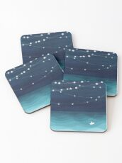 Garland of stars, teal ocean Coasters