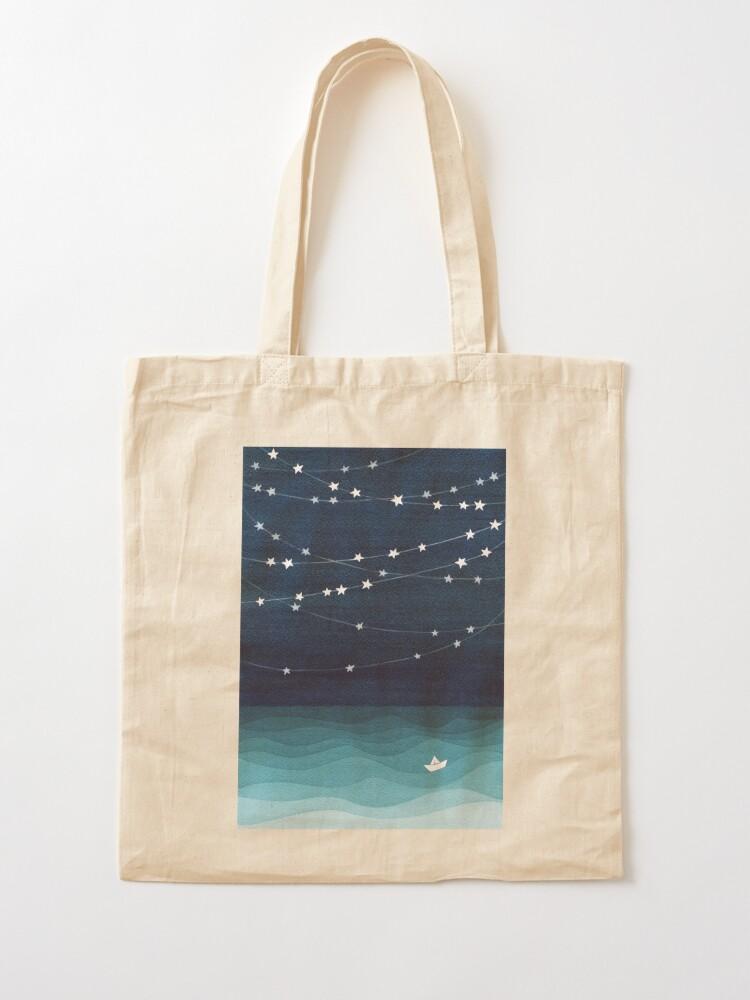 Alternate view of Garland of stars, teal ocean Tote Bag