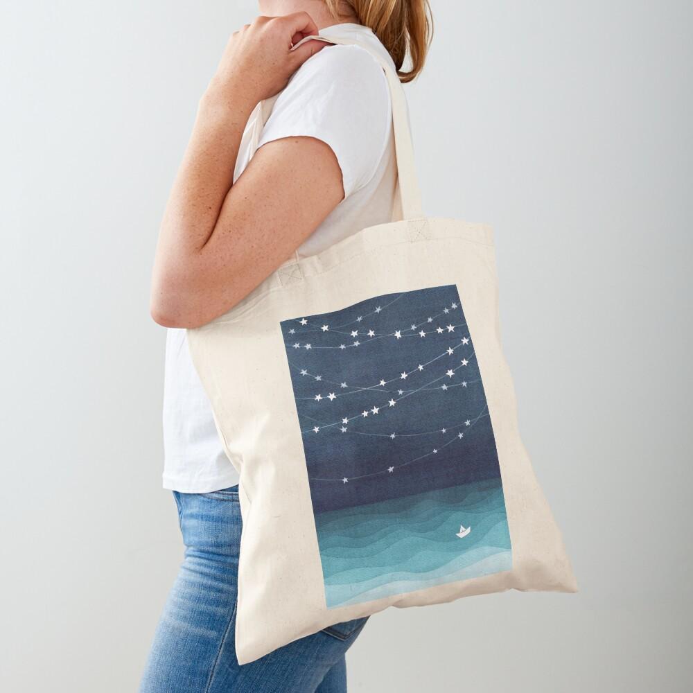 Garland of stars, teal ocean Tote Bag