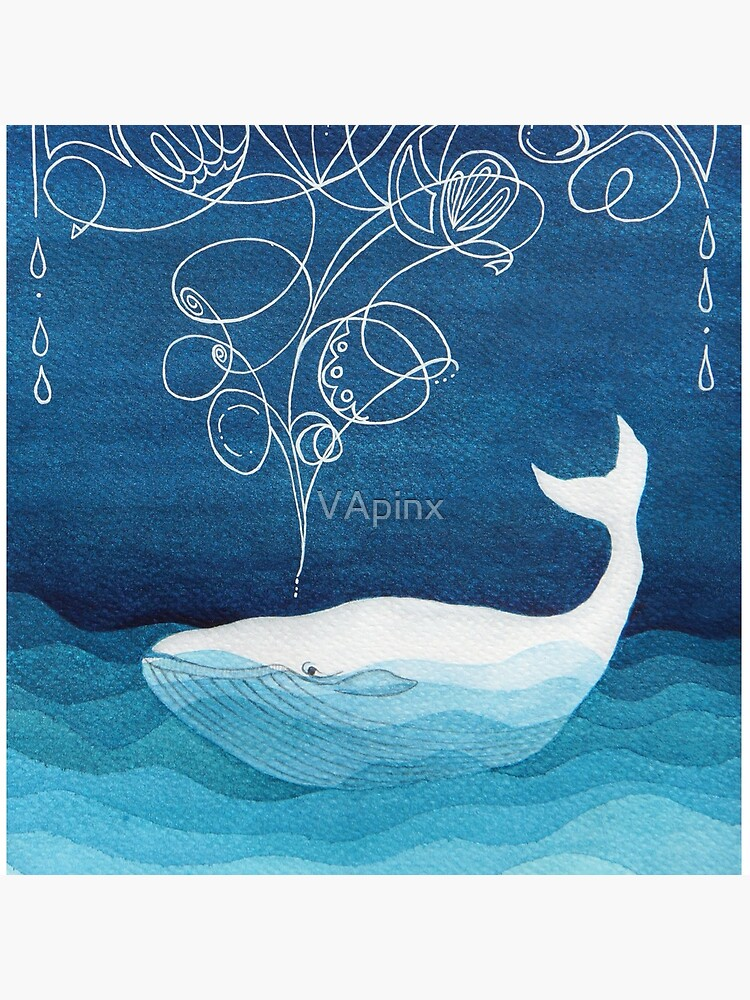 Happy whale, animals, sea creature, teal blue watercolor by VApinx