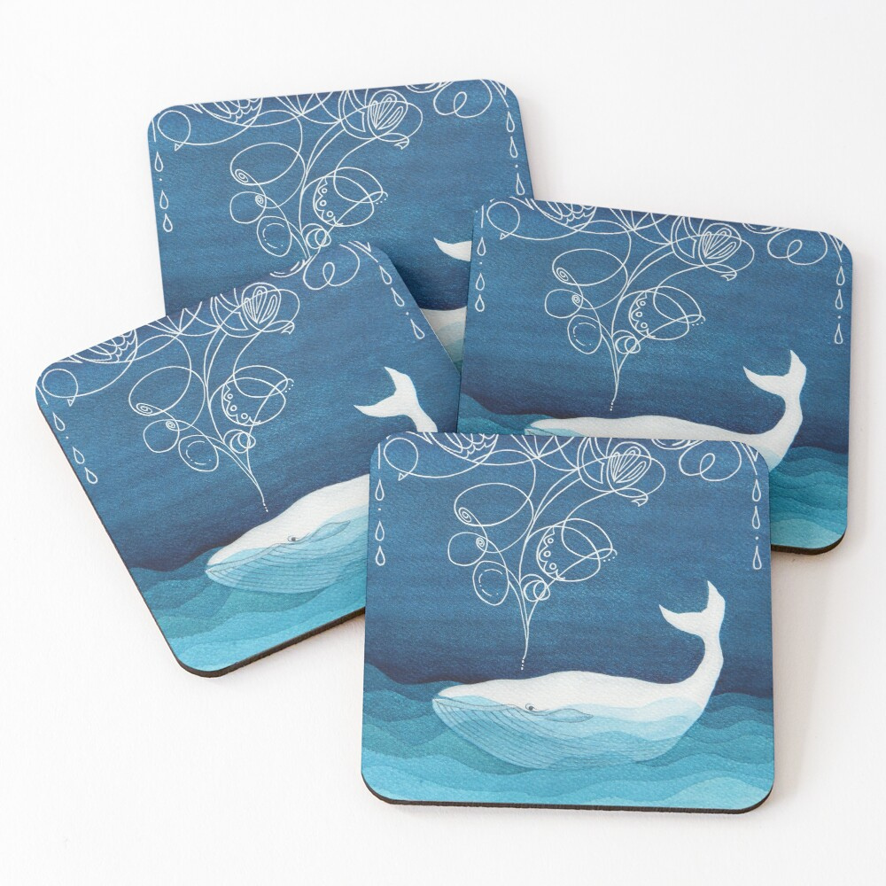 Happy whale, animals, sea creature, teal blue watercolor Coasters (Set of 4)