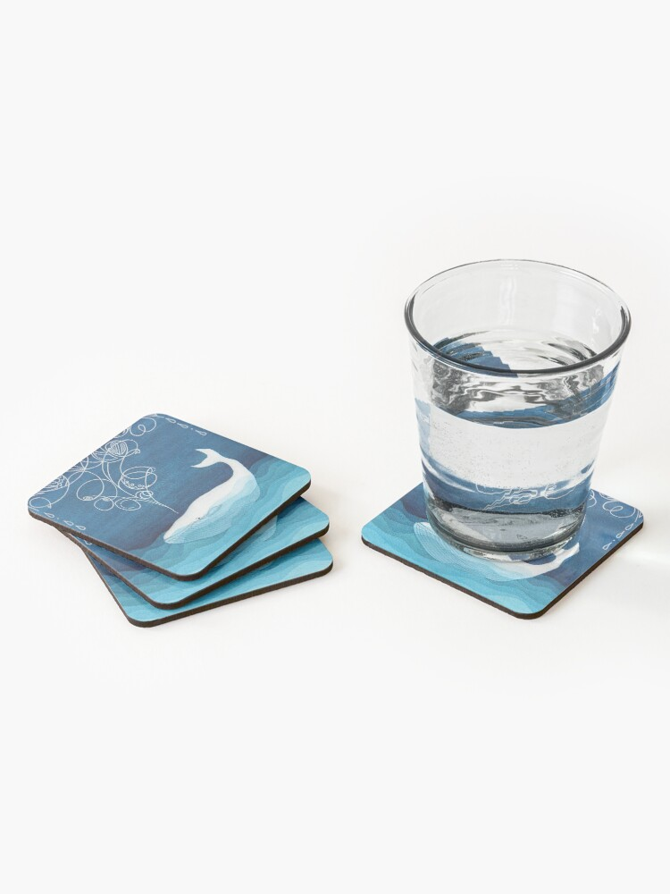 Alternate view of Happy whale, animals, sea creature, teal blue watercolor Coasters (Set of 4)