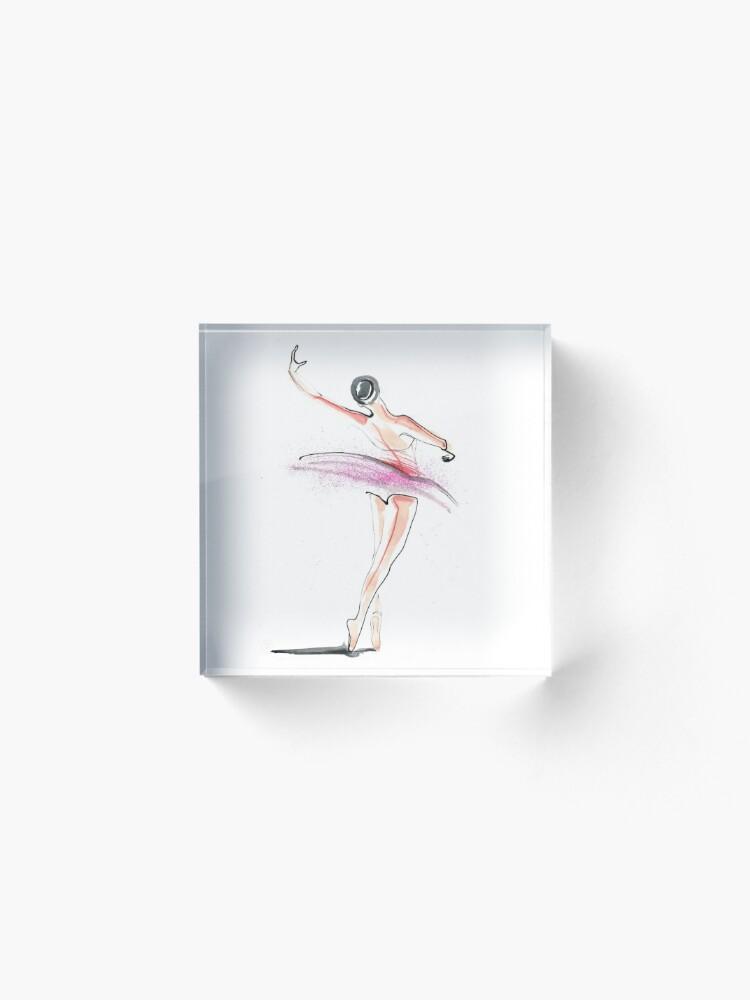 Alternate view of Ballerina Dance Drawing Acrylic Block
