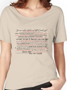 Dress Up, Me Hearties, Yo Ho! (Black/Red) Women's Relaxed Fit T-Shirt