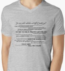 Dress Up, Me Hearties, Yo Ho! (Black/White) Mens V-Neck T-Shirt