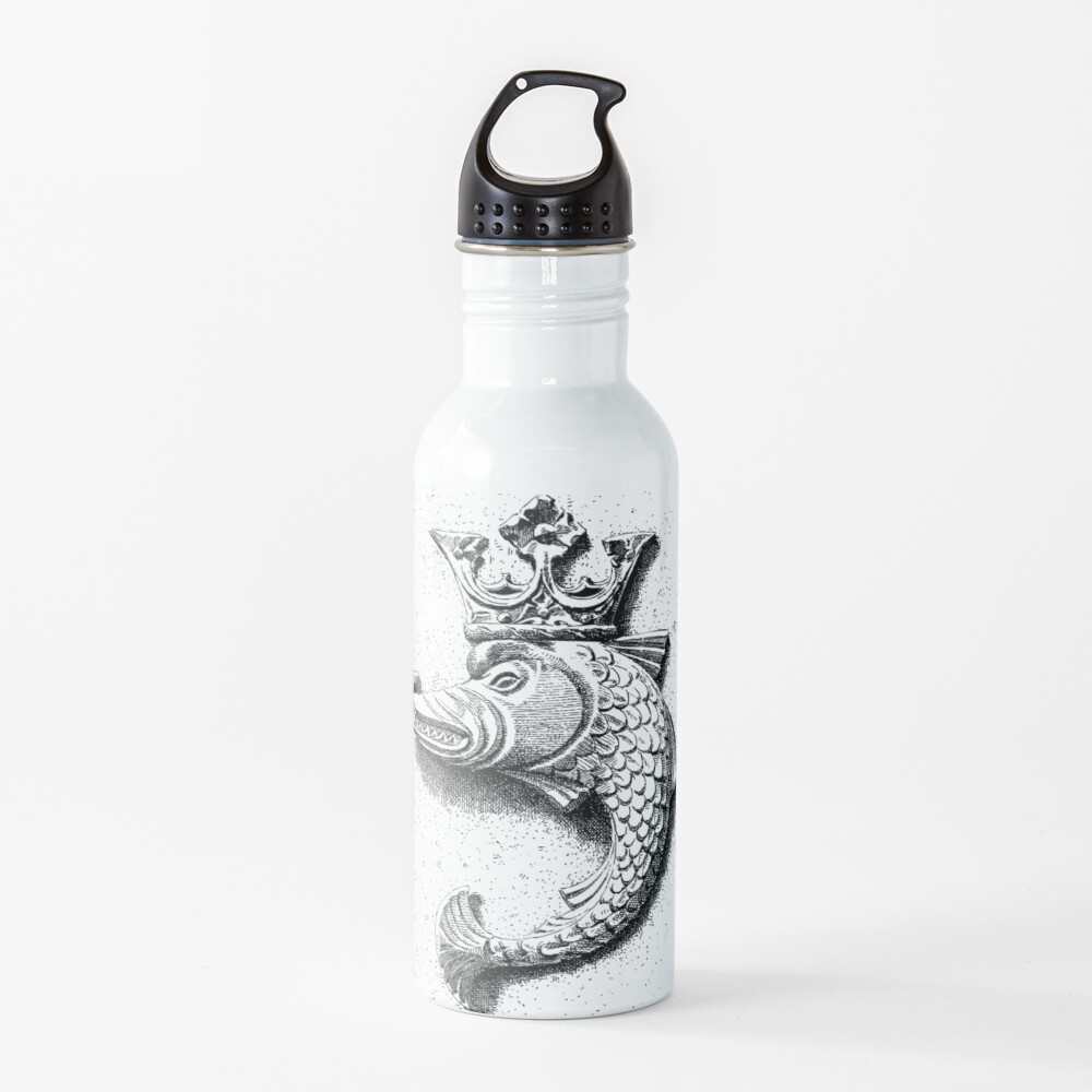 Fish Gargoyle with Crown | Vintage Fish with Crown | Gargoyles and Grotesques | Black and White |  Water Bottle