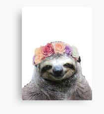 Flower Crown Sloth Canvas Print