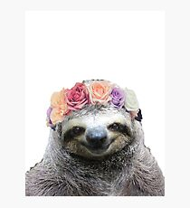 Flower Crown Sloth Photographic Print
