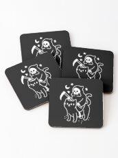 Death Rides A Black Cat Coasters