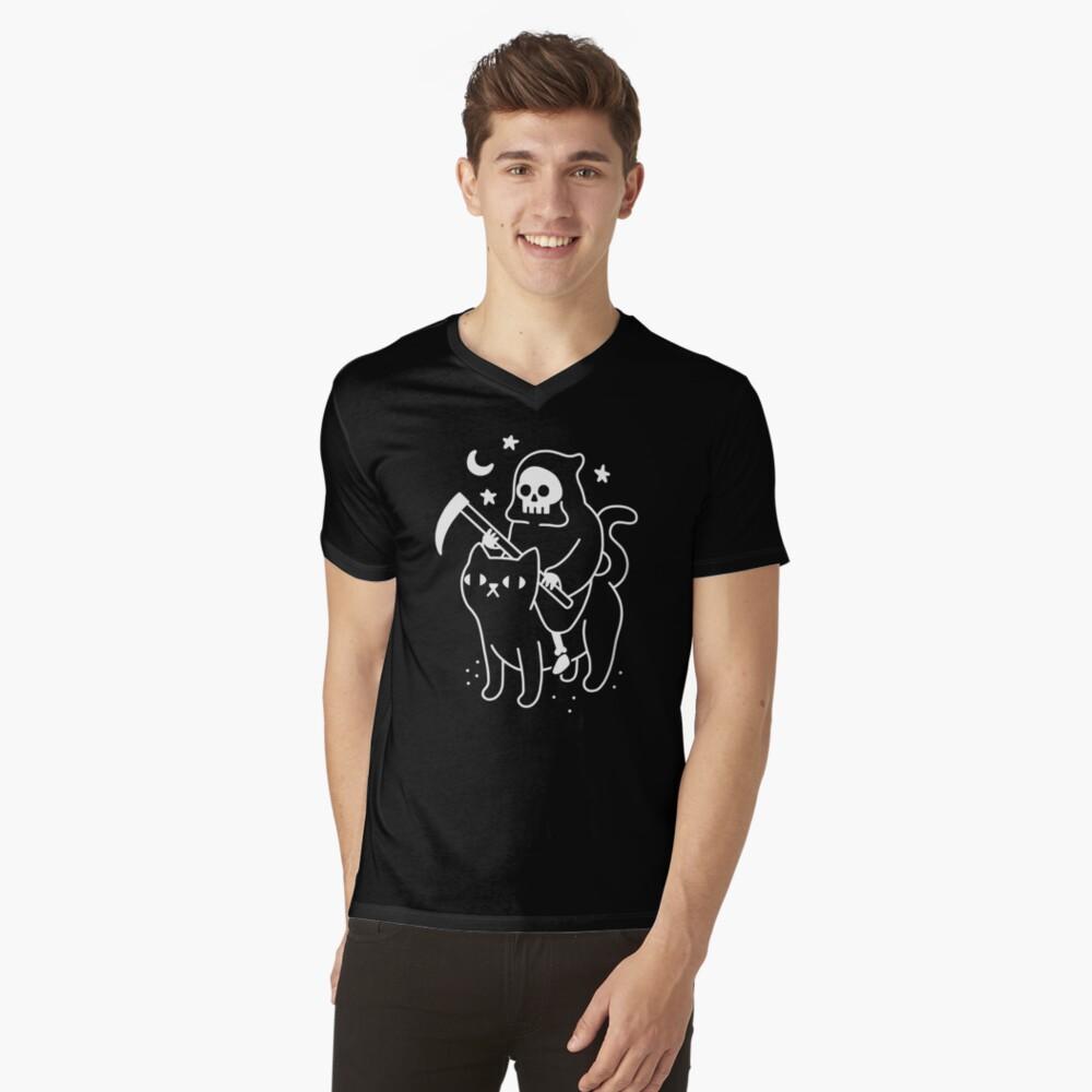 Death Rides A Black Cat V-Neck T-Shirt