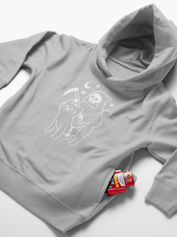 Alternate view of Death Rides A Black Cat Toddler Pullover Hoodie