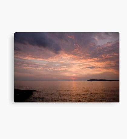 Sundown over the Adriatic coastline Canvas Print