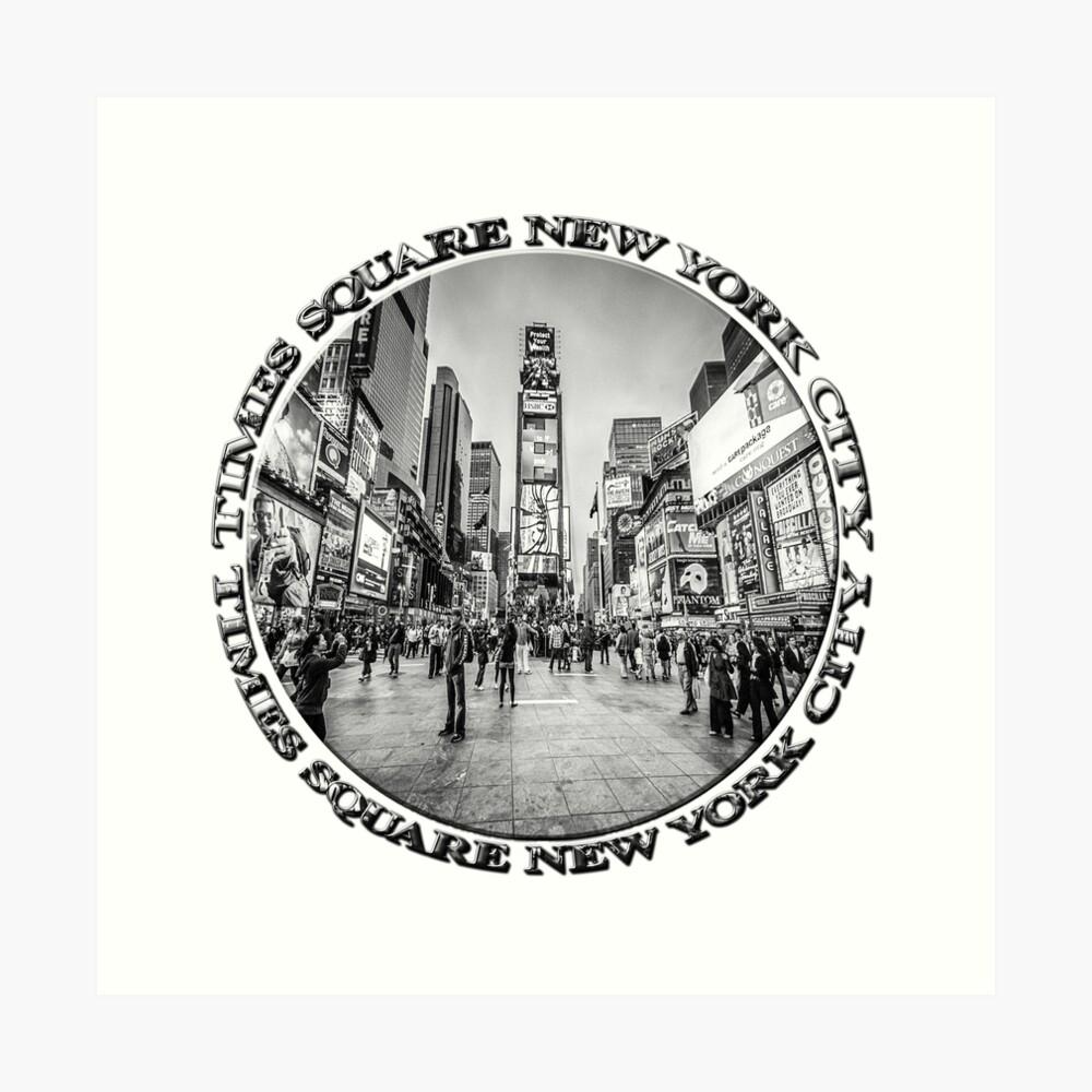 Times Square Sparkle (b&w badge on white) Art Print