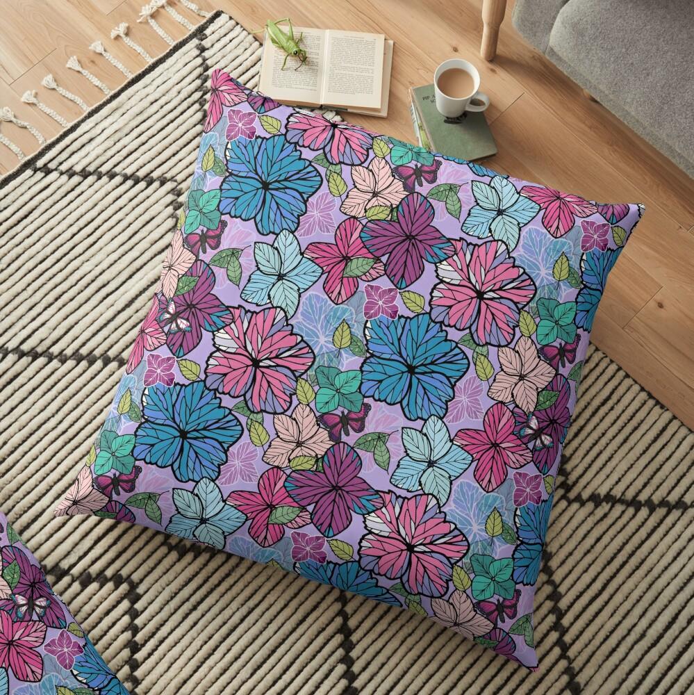 Hydrangeas & Butterflies Floor Pillow