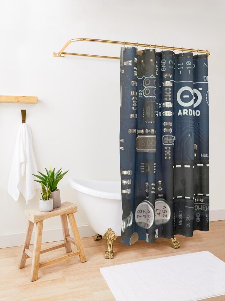 Alternate view of Get Your Arduino Geek On! Shower Curtain