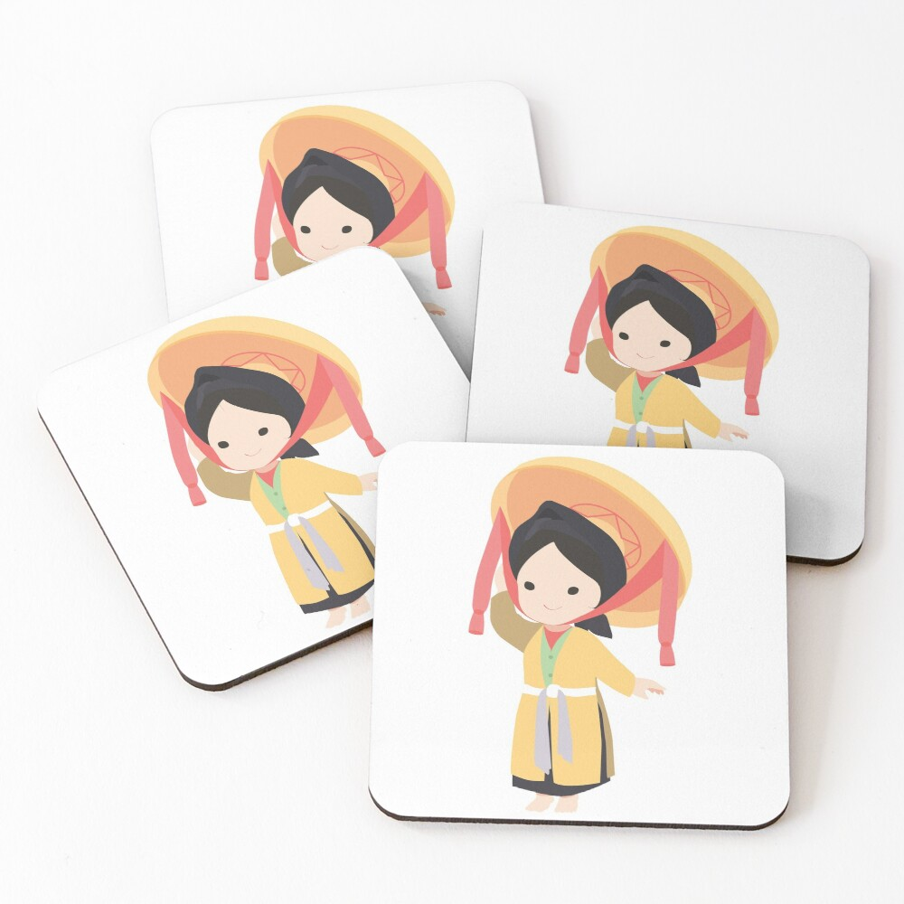 Vietnamese traditional four parts dress Coasters (Set of 4)