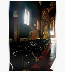 Prayer Bowls in a Buddhist Temple Poster