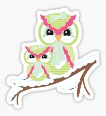 Two Owls for Christmas  Sticker