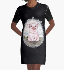 Pig Lovers Inspirational  Just Breathe  Graphic T-Shirt Dress