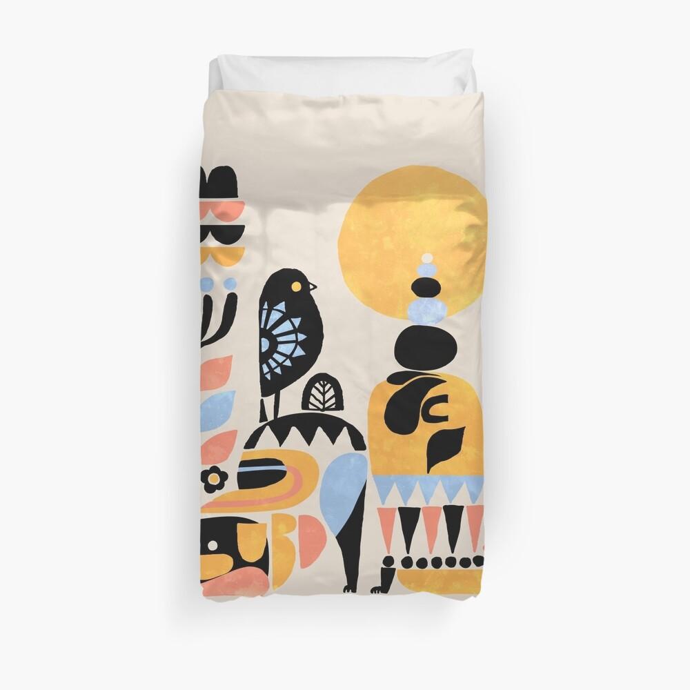Scandinavian Pug Yoga Duvet Cover