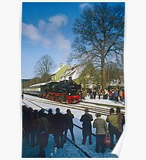 Steam train posing for photographers, Germany, 1985. Poster