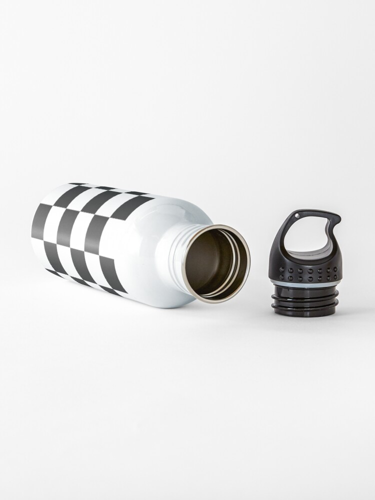 Alternate view of Checkered Flag, Chequered Flag, Motor Sport, Checkerboard, Pattern, WIN, WINNER,  Racing Cars, Race, Finish line, BLACK. Water Bottle