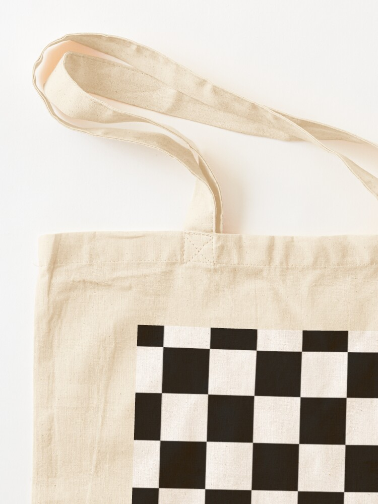 Alternate view of Checkered Flag, Chequered Flag, Motor Sport, Checkerboard, Pattern, WIN, WINNER,  Racing Cars, Race, Finish line, BLACK. Tote Bag