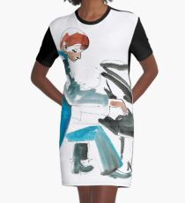 Pianist Musician Expressive Drawing Graphic T-Shirt Dress