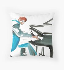 Pianist Musician Expressive Drawing Throw Pillow