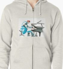 Pianist Musician Expressive Drawing Zipped Hoodie