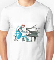 Pianist Musician Expressive Drawing Slim Fit T-Shirt