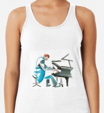 Pianist Musician Expressive Drawing Racerback Tank Top