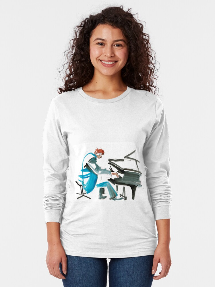 Alternate view of Pianist Musician Expressive Drawing Long Sleeve T-Shirt