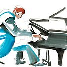 Pianist Musician Expressive Drawing by CatarinaGarcia