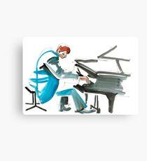 Pianist Musician Expressive Drawing Metal Print