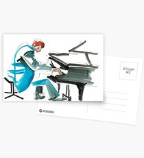 Pianist Musician Expressive Drawing Postcards