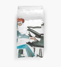 Pianist Musician Expressive Drawing Duvet Cover